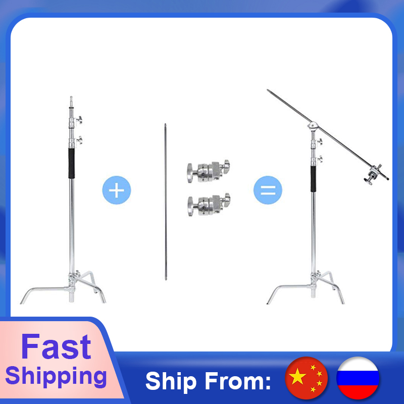 Heavy Duty Stainless Steel light stand backdrop stand C-Stand with Hold Arm and Grip Head for Photography Reflectors Softboxes