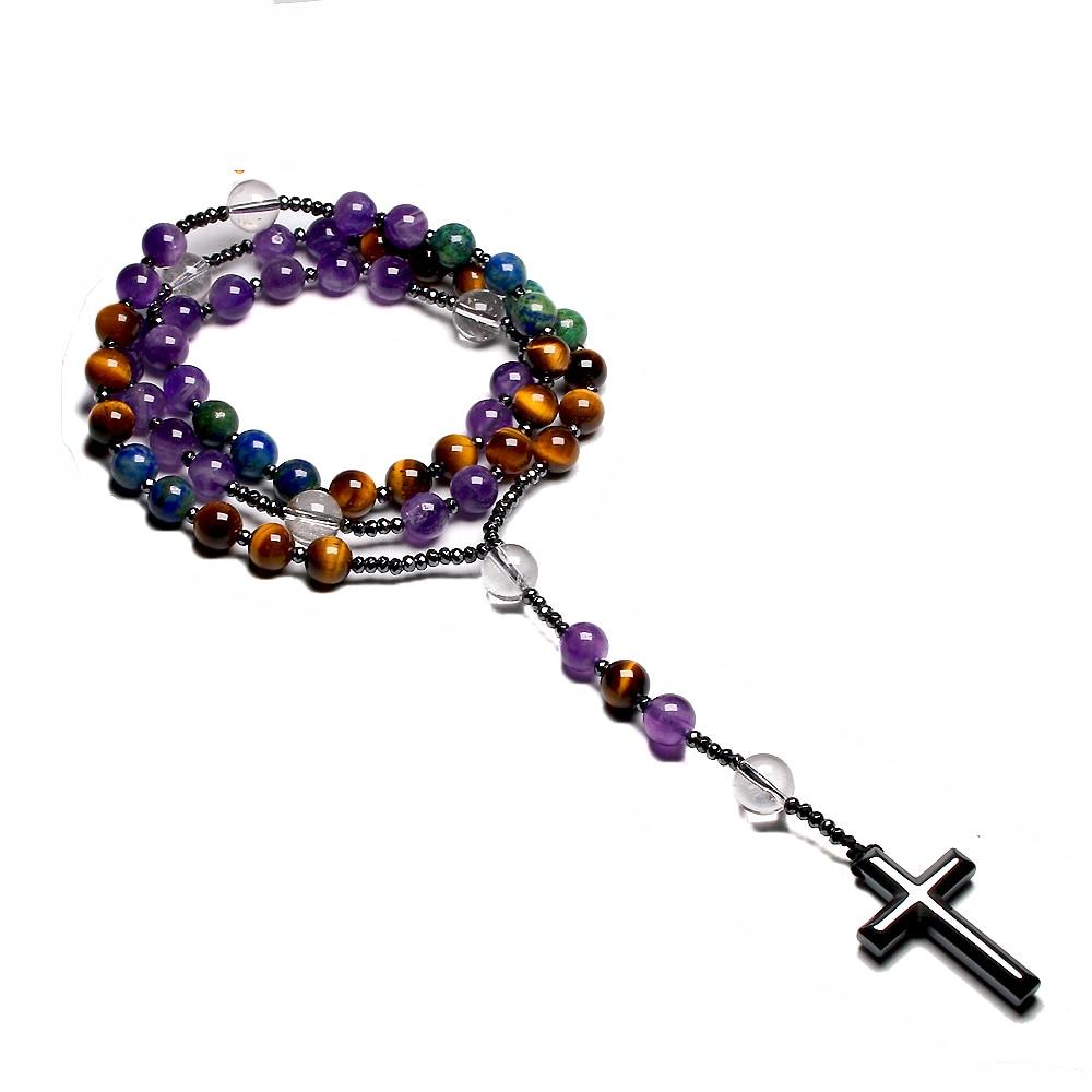 Natural Amethyst Catholic Christ Rosary Necklaces For Women Men Tiger Eye Hematite Cross Pendant Meditation Mala Jewelry