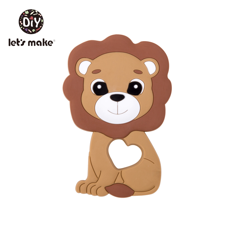 Купить с кэшбэком Let's Make Silicone Teether Lion Shape 1pc Newest Animals Lion Teether For Teeth DIY Teething Pacifier Clips Food Grade Tiny Rod