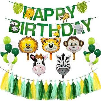 Kit de decoración de globos de fiesta de jungla, fiesta de Safari con temática de zoológico, Baby Shower, Animal, arco de globos, suministros de fiesta de cumpleaños para niños