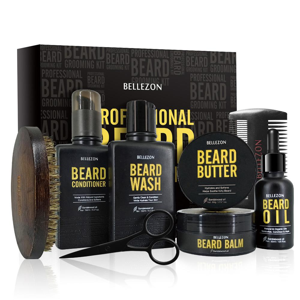 8Pcs/set Low-key Luxury Men Beard Care Suit Professional Beard Care Nourish Cleaning Growth Cream Styling Care Kit With Gift Box