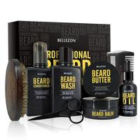 8Pcs/set Low key Luxury Men Beard Care Suit Professional Beard Care Nourish Cleaning Growth Cream Styling Care Kit With Gift Box