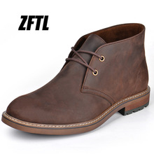 Men's Boots Horse-Skin ZFTL Genuine-Leather Male Large-Size Man Ankle Tooling Crazy