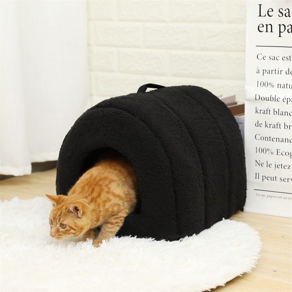 Lovely Pet Cat Cave House <font><b>Dog</b></font> <font><b>Kennel</b></font> Nest Puppy Cat Bed Arched Shape Easy to Wash <font><b>Portable</b></font> Puppy <font><b>Dog</b></font> Cat Sleeping Living 4 Color image