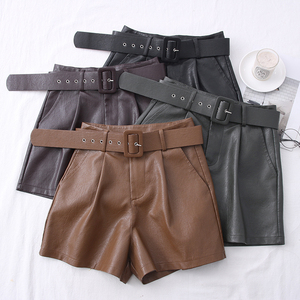 2020 New PU Leather Shorts Women Shorts All-match Sashes Wide Leg Short Ladies Sexy Leather Shorts Autumn Winter