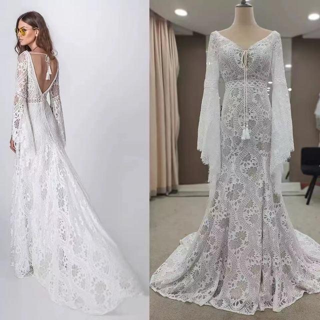 803#2021 New Design Long Lantern Sleeve Empire V-Neck Backless Small Train Beauty Backless Lace Boho Beach Wedding Dresses Women 1