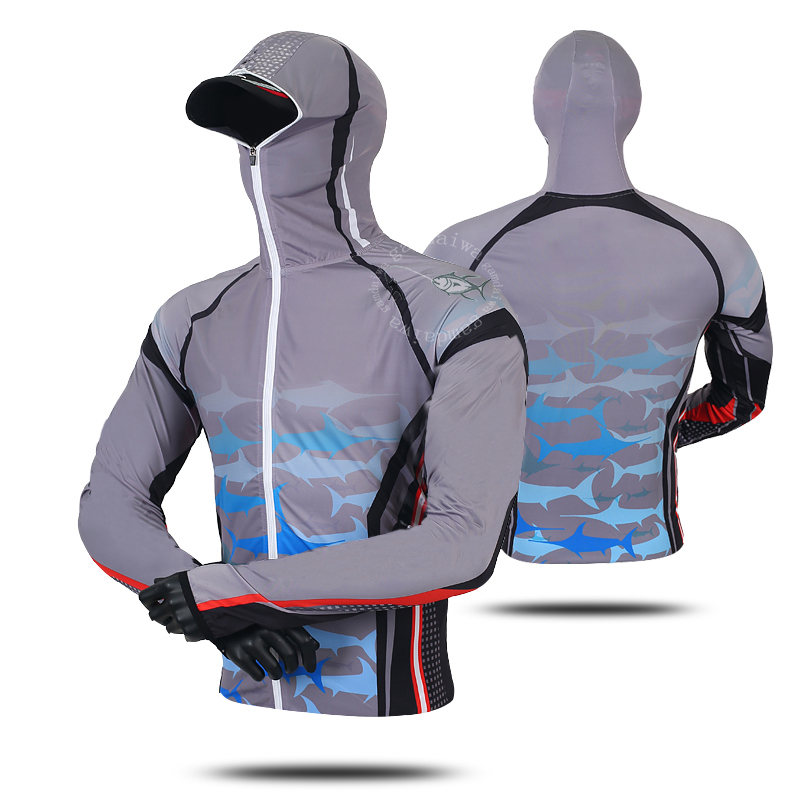 Professional Fishing Hoodie Anti-UV Sunscreen Sun Protection Face Neck Fishing Shirt Breathable Quick Dry Fishing Clothes