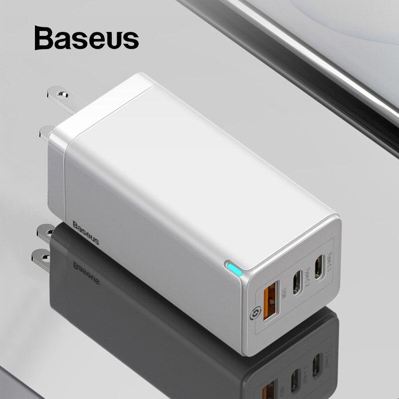 Cargador rápido USB Baseus 65W GaN de carga rápida 3,0 para iPhone 11 PD3.0 soporte de enchufe estadounidense FCP AFC SCP QC 3,0 para Samsung S10 Xiaomi
