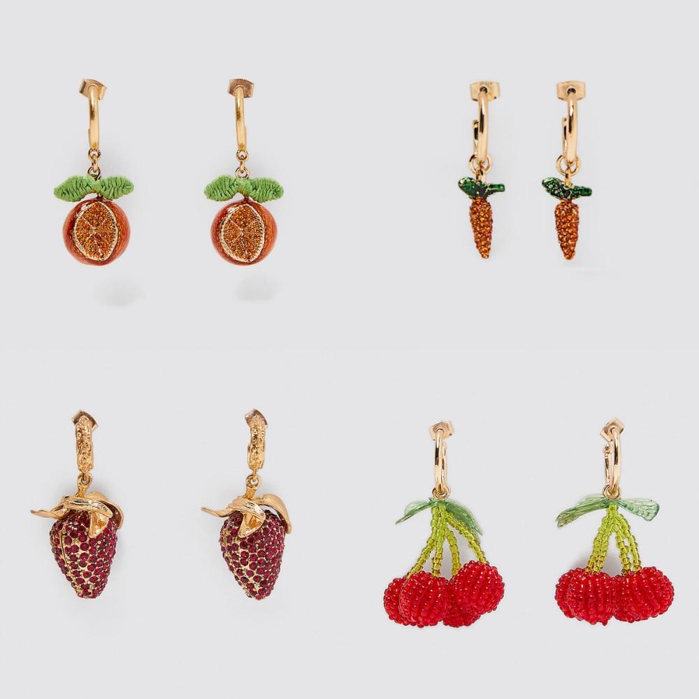 Girlgo 2020 Za Orange Drop Earrings For Women Fruit Statement Cherry Strawberry Statement Dangle Earrings Hanging Brincos Gifts