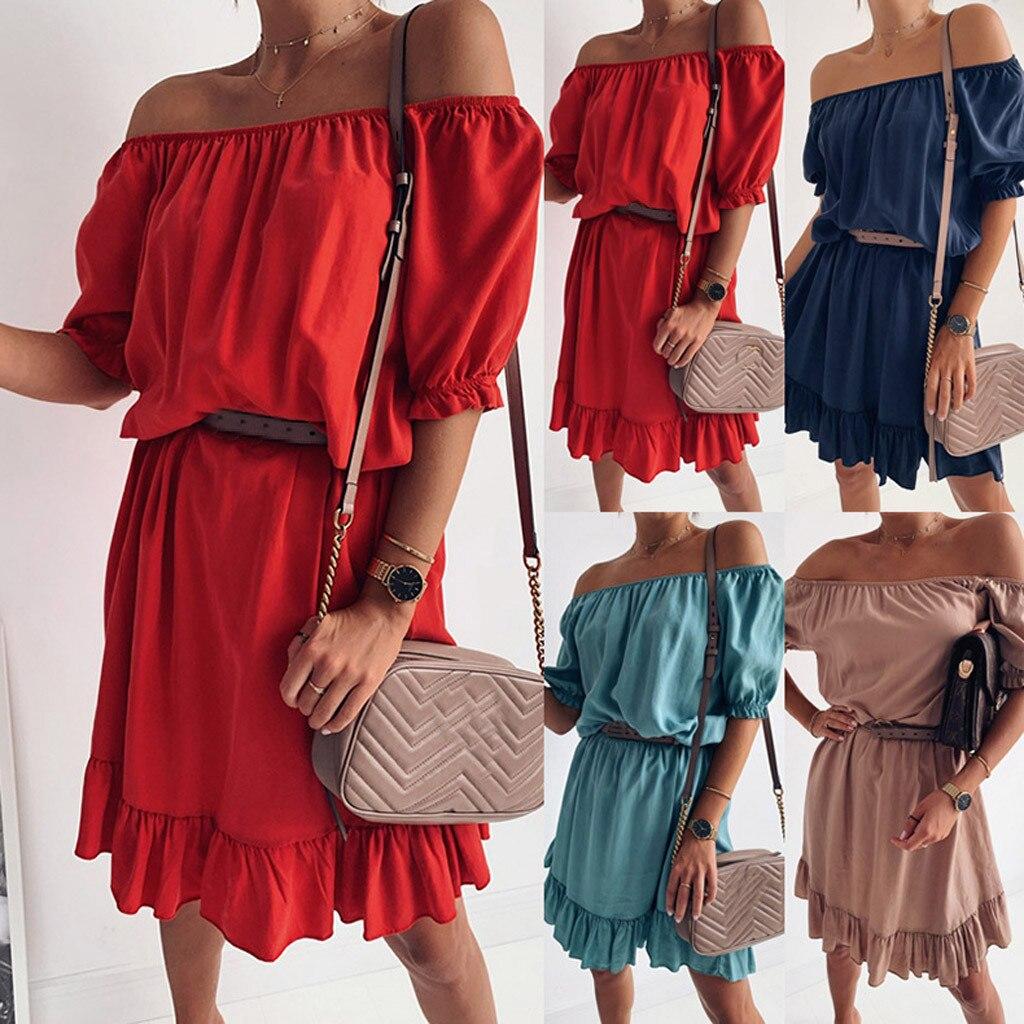 YOUYEDIAN Women Fashion Slash Neck Loose Sexy Off Shoulder Casual Solid Mini Dress Elegant Women's Bodycon Vestidos de festa #8