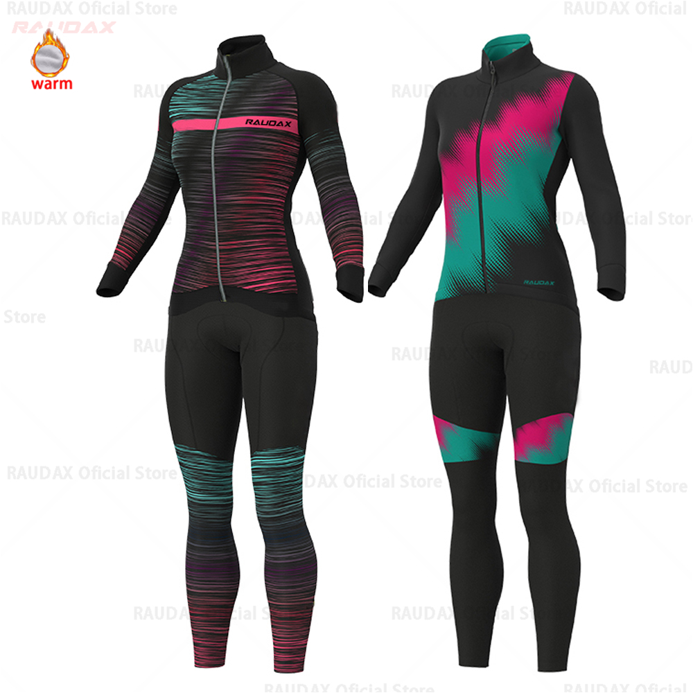 <font><b>Strava</b></font> Lady Cycling Jersey Long Sleeve Set Women Winter Cycling Clothing Fashion Road <font><b>Bike</b></font> Warm <font><b>Shirt</b></font> Pro Winter Thermal Fleece image
