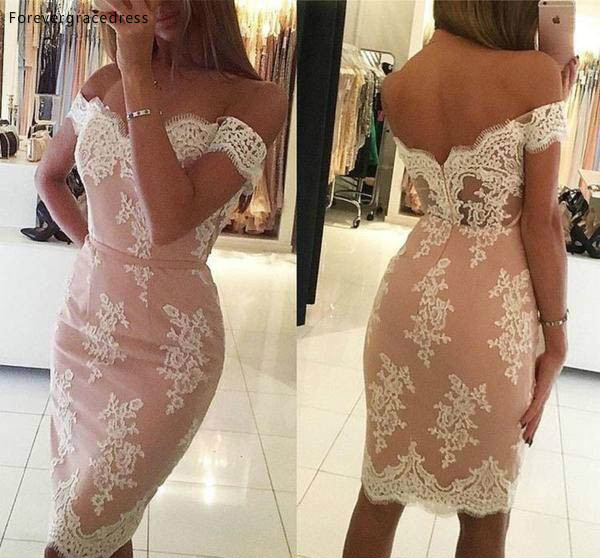 Cheap Modern Sheath Off Shoulder Cocktail Dress Knee Length Appliqued Short Club Wear Homecoming Party Dress Plus Size