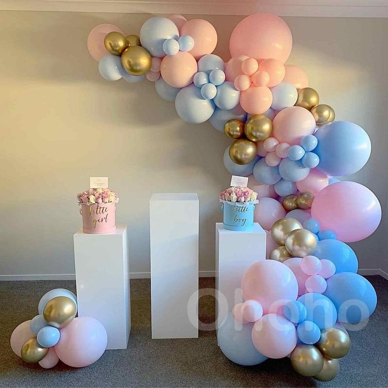 Охохо пастельный голубой розовый Макарон шар для мальчиков и девочки, платья для крещения, платье арочный комплект/воздушные шары гирлянда ...