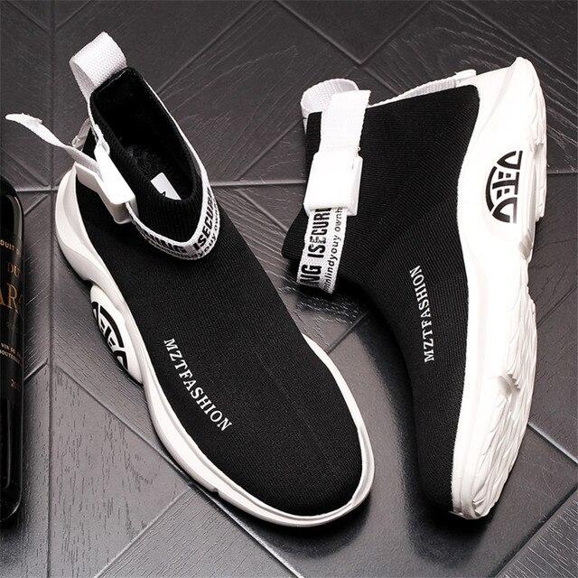 Zapatos de calcetín de punto para Hombre, Zapatillas transpirables con plataforma de malla, botines planos informales, de verano 5