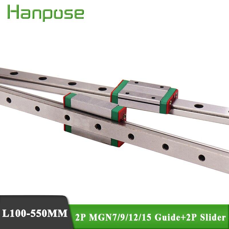 2 шт. MGN7 MGN12 MGN15 линейная направляющая с 2 шт. MGN7C MGN12C MGN12H MGN слайдер для монитора 3D-принтера