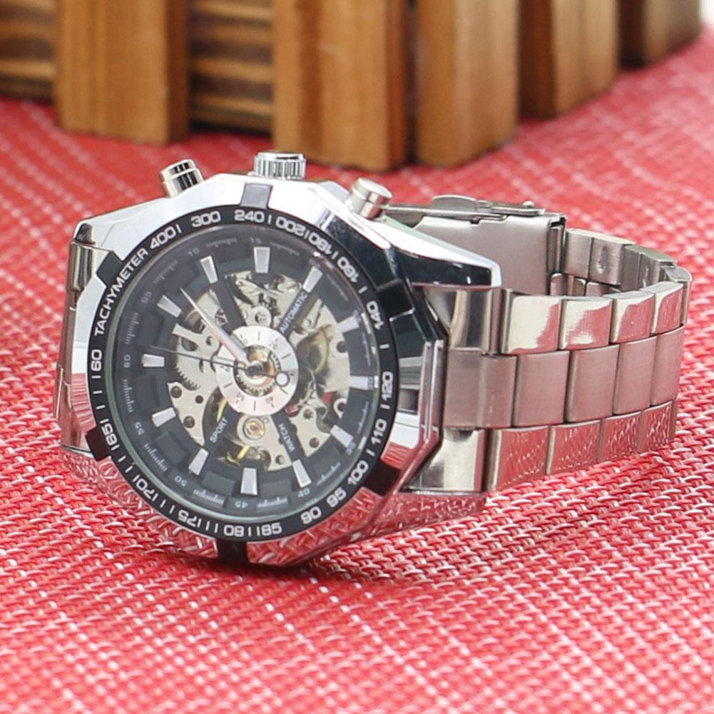 Men's Hollow Skeleton Dial Automatic Mechanical Stainless Steel Band Wrist Watch Mas-culino Fashion Men's Watch Large Dial Milit