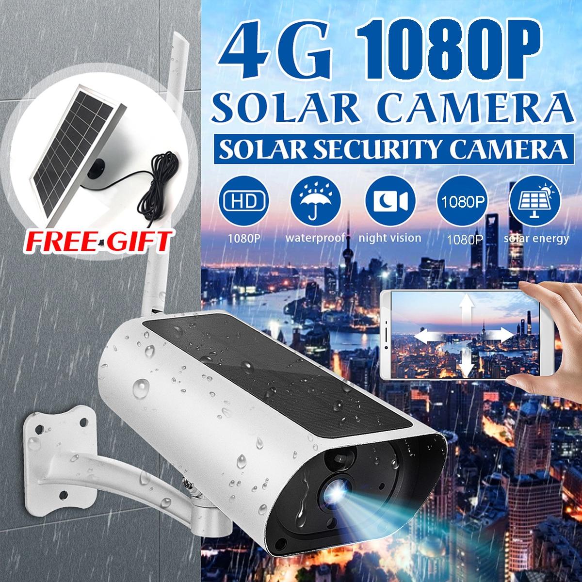 Étanche 4G solaire IP caméra 1080P sans fil sécurité Surveillance CCTV caméra Webcams PIR détection de mouvement mur extérieur