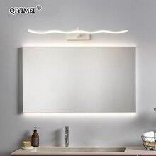 Светодиодный зеркальный светильник, настенные светильники для ванной комнаты, водонепроницаемый белый черный светодиодный светильник на плоской подошве, современный домашний настенный светильник, освещение для ванной комнаты, макияж