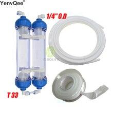 Su filtresi 2 adet T33 kartuşu konut DIY T33 kabuk filtre şişesi 4 adet bağlantı parçaları su arıtıcısı için ters osmoz sistemi