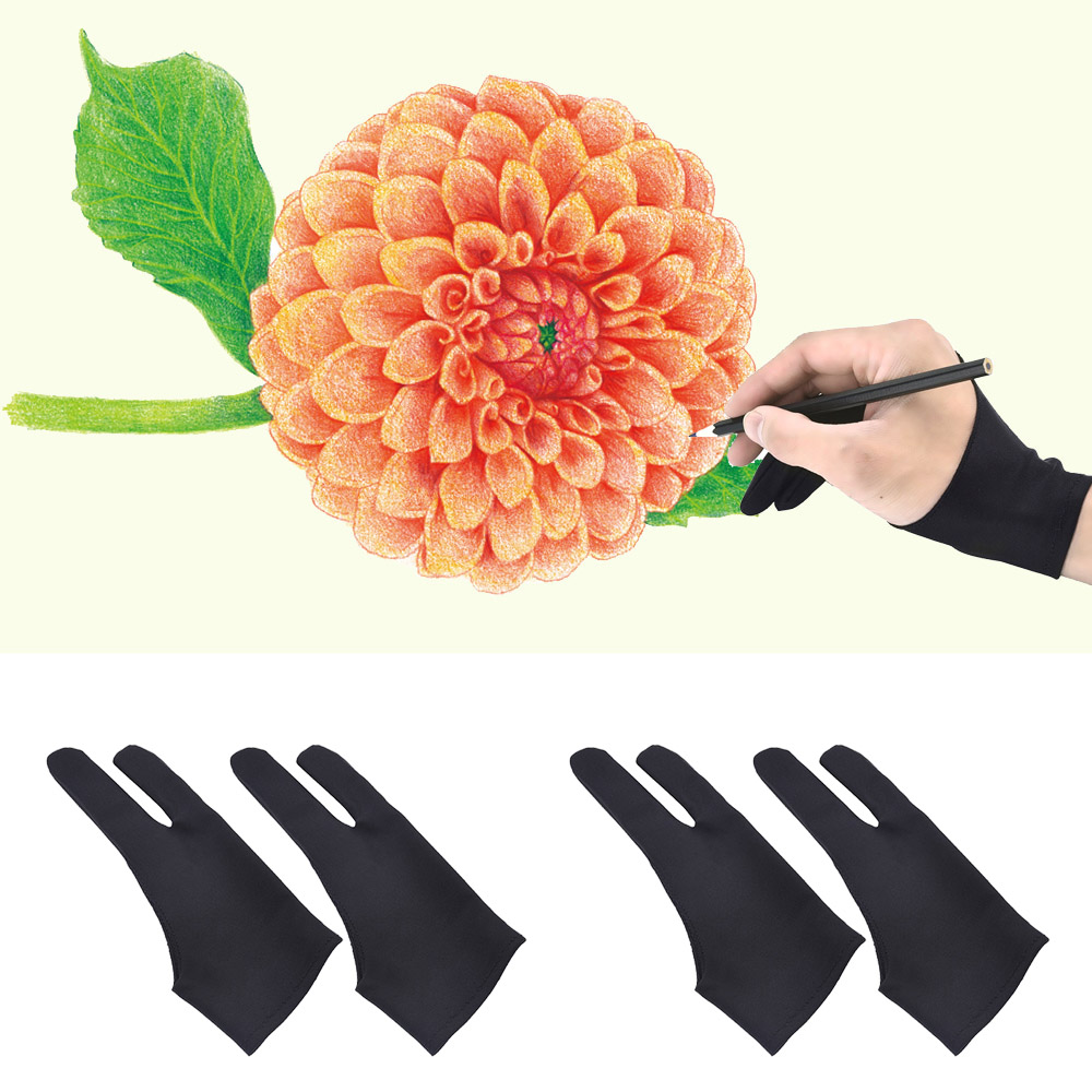 4Pcs Professional 2-fingers Tablet Drawing Anti-fouling Gloves For Graphic Tablet Art Creation Pen Display IPad Pro Pencil Black