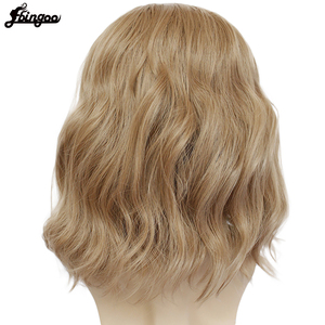 Image 4 - Ebingoo Captain Marvel High Temperature Fiber Brown Medium Length Body Wave Synthetic Cosplay Wigs Middle Part for Men Custome