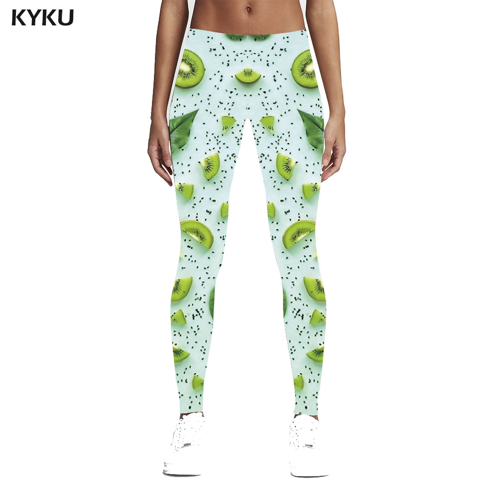 KYKU Fruit Leggings Women Leggings Sexy Fitness Pants Spandex Push Ups Elastic Funny Trousers Womens Leggings Pants Casual Slim