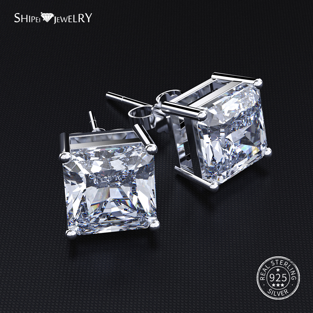 Shipei Hipoalergênico Stud Praça Brincos para As Mulheres 100% 925 Sterling Silver Sapphire Ruby Princess Praça Stud Earrings
