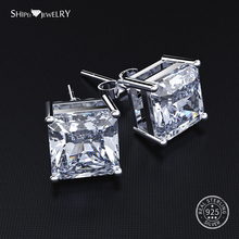 Shipei Hypoallergenic Square Stud Earrings for Women 100% 925 Sterling Silver Sapphire Ruby Princess Square Stud Earrings недорого