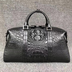 Authentic Crocodile Leather Zipper Closure Men's Travelling Duffel Purse Genuine Real Alligator Skin Male Top-handle Handbag