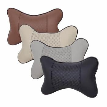 1 Pair The New Stylish Faux Leather Car Seat Headrest Cute bone shape Neck Support Cushion Breathable Rest Pillow nice car decor image