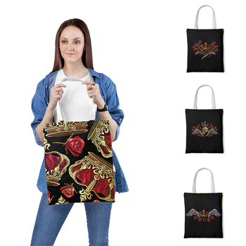 Women Foldable Canvas Shoulder Bag Canvas Tote Eco Shopping Bag Canvas Tote Bag Casual Beach Skull Printed HandBag Daily Use zip closure canvas tote bag