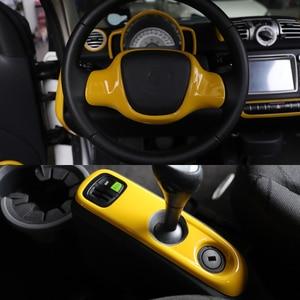 Image 4 - Auto Gelb Dekorative Abdeckung Moulding Armlehne Instrument Abdeckung Fall Shell Änderung Für Alte Smart 451 fortwo Zwei Tür