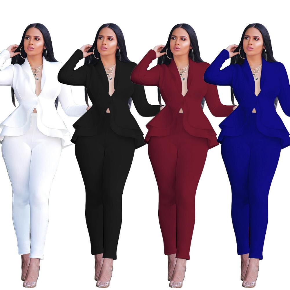 Echoine Autumn Ruffle blazer and pants set for women Two Piece Set OL Work Office White business suits combinaison femme white