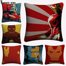 Iron Man Superhero Artwork Decorative Pillow Covers For Sofa Home Decor Linen Cushion Case 45x45cm Throw Pillow Cases(China)