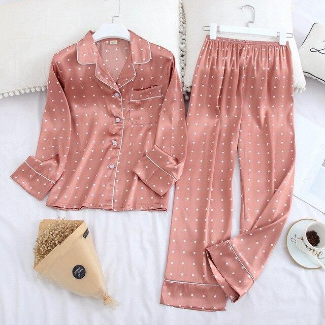 Conjunto de pijama de solapa de Satén de seda de hielo para mujer, Pijama estampado de moda, Conjunto de pijama de manga larga