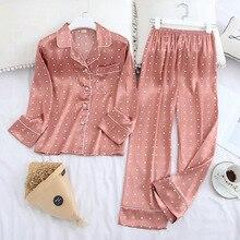 Eis Seide Satin Revers Frauen Pyjama Set Druck Mode Pyjamas Lange Sleeve Pyjamas Set
