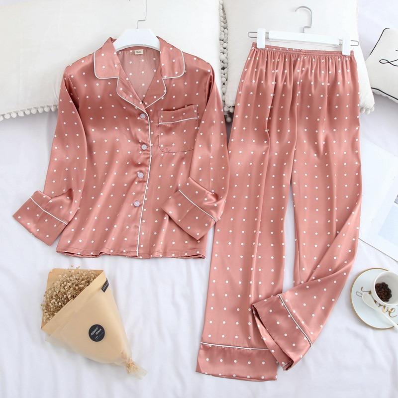 Ice Silk Satin Lapel Women Pajama Set Printing Fashion Pajamas Long Sleeve Pyjamas Set