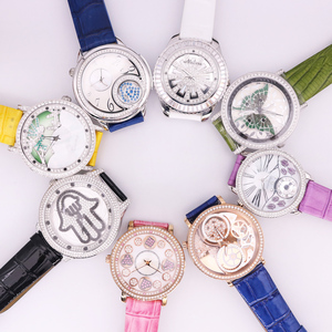 SALE!!! Discount Davena Roate Crystal Old Types Big Lady Women's Watch Japan Mov't Fashion Bracelet Leather Girl's Gift No Box(China)
