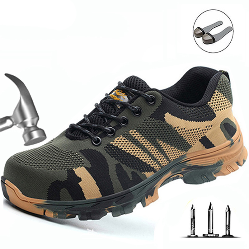 Mens Work Boots Safety Fashion Camouflage Spring Mesh Breathable Puncture proof Work Safe Steel Toe Men Casual Shoes 36-46 image