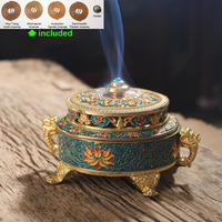 Collectibles Tibetan Style Painted Enamel Copper Alloy Coil Incense Burner/Holder and 4 Kinds Coil Incense