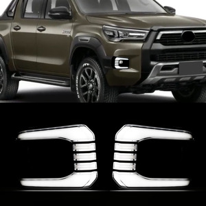 Image 5 - Car Flashing 1Pair Car LED Daytime Running Light Turn Yellow Signal Relay 12V DRL Daylight For Toyota Hilux Revo Rocco 2020 2021