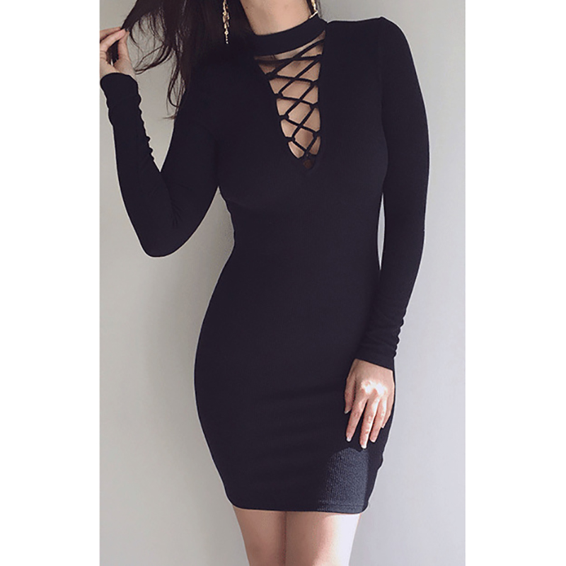 Zipper Fly Over Bust Sexy Dress Women Autumn Winter Long Sleeve V-Neck Knitted Mini Bodycon Dress Mujer Package Hip Knit Robe
