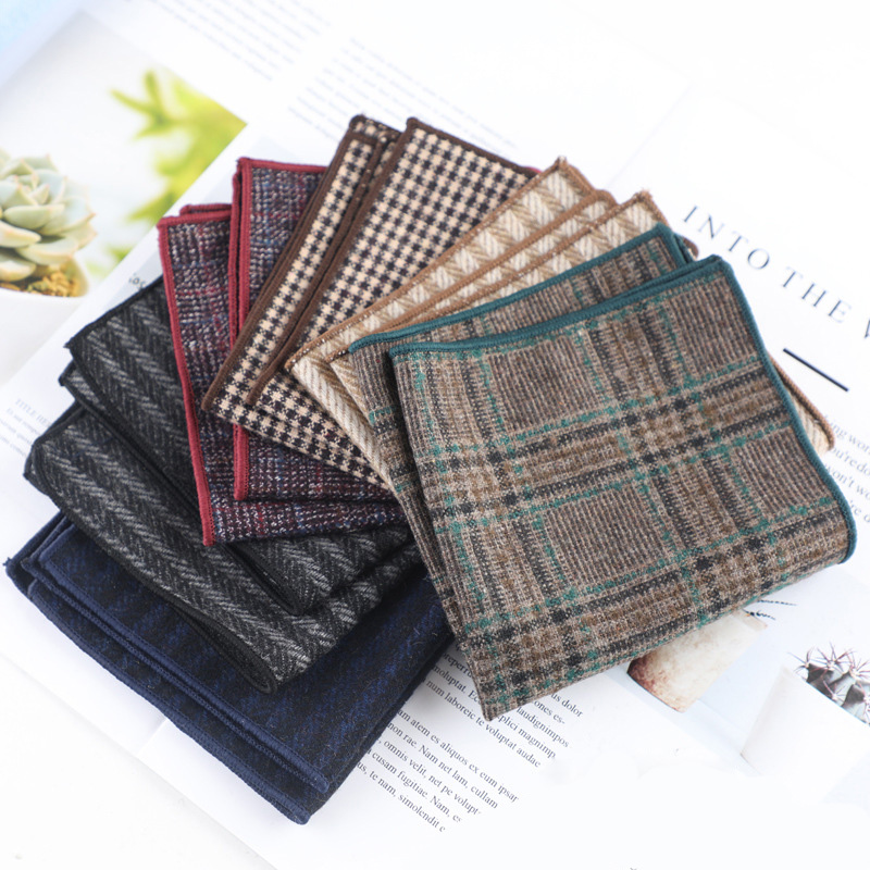 Men High Quality Hankerchief Scarves Business Suit Hankies Wool Plaid Casual Men Pocket Square Handkerchiefs For Wedding 22*22CM