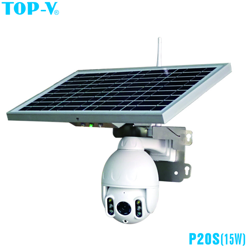 1080P Cloud Storage AI Detection Auto Tracking Solar PTZ High Speed Dome IP Camera With IR Leds And 15W Solar Panel