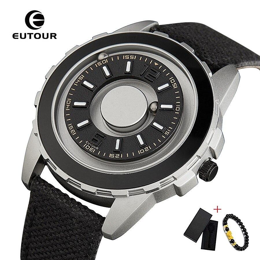 EUTOUR Black Clock Magnetic Ball Pointer Quartz Watch Men Waterproof Wrist Watch Nylon Strap Mens Watches Top Brand Luxury 2019
