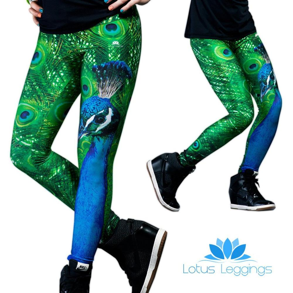 New Style Peacock Pattern Digital Printing Sportswear Outdoor Skinny Leggings Polyester Elastic Force Breathable Leggings