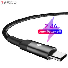 Yesido CA28 Smart Power Off USB Type C Cable Fast Charger Type-c For Samsung S10 S9 Xiaomi Huawei Cord Data Cables