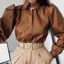 Женская рубашка с длинными рукавами фонариками отложным воротником