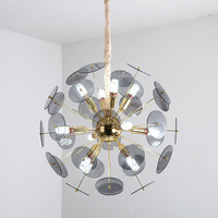 Modern glass Chandelier Lighting Fixture Dia 60cm Luxury white gray Round Shape Lustre living room restaurant Cafe Hanging Lamps