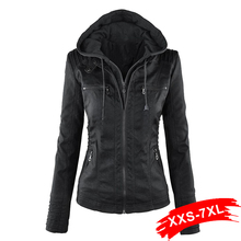 Gothic Plus Size Faux Leather Jacket 4XL 5XL 6XL Women Hoodies Winter Autumn Mot